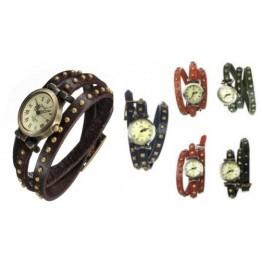 Vintage стил - кожена ретро дамска гривна часовник